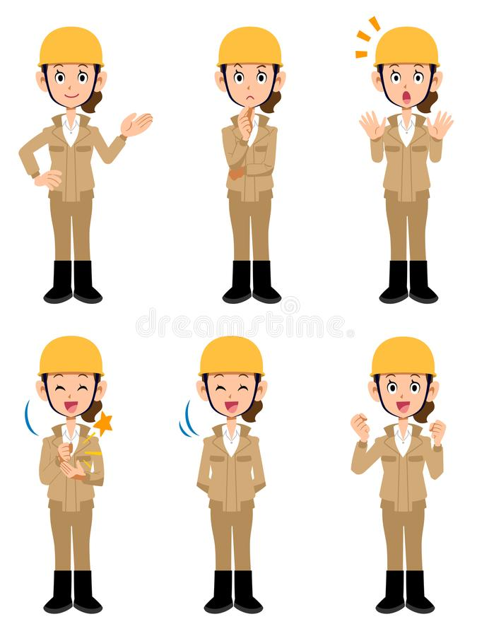 Female wearing beige Work clothes working at the construction site stock illustration