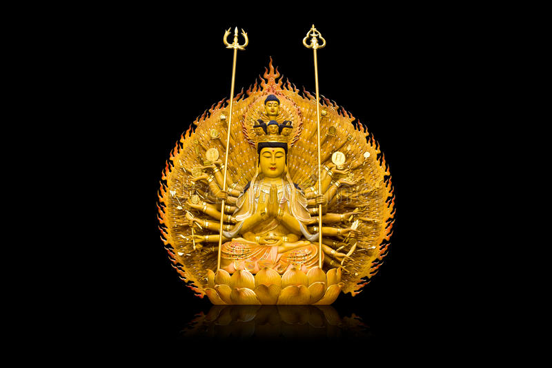 The images of Guanyin on black background royalty free stock photos