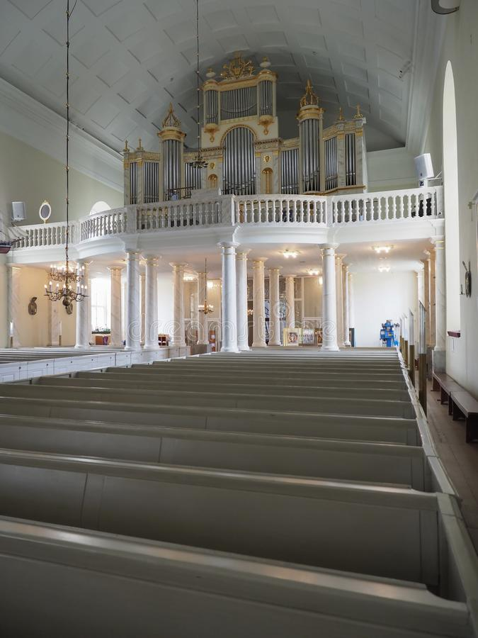 Images of the interior of the Cathedral of Oulu. Oulu, Finland - July 26, 2018: Images of the interior of the Cathedral of Oulu stock image