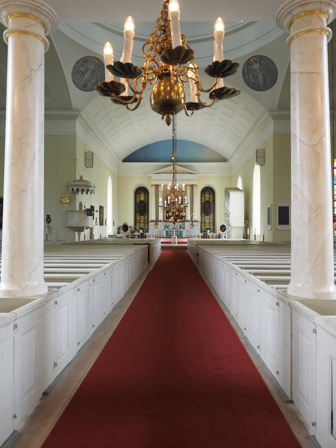 Images of the interior of the Cathedral of Oulu. Oulu, Finland - July 26, 2018: Images of the interior of the Cathedral of Oulu stock images