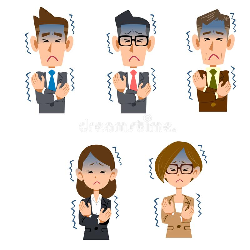 Male and female office worker who feels cold. The 5 images Male and female office worker who feels cold royalty free illustration