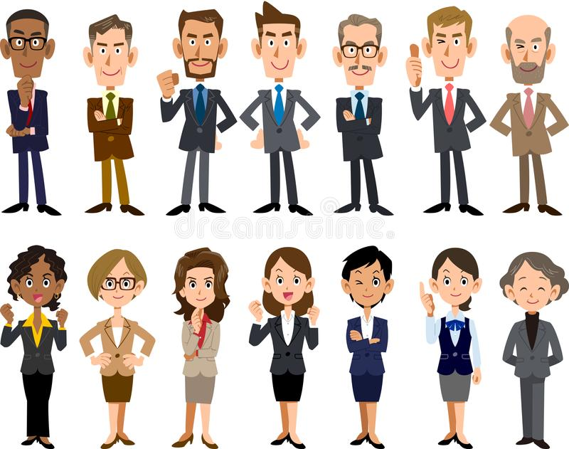 Business people of various ages and races. The images of many Business people of various ages and races stock illustration
