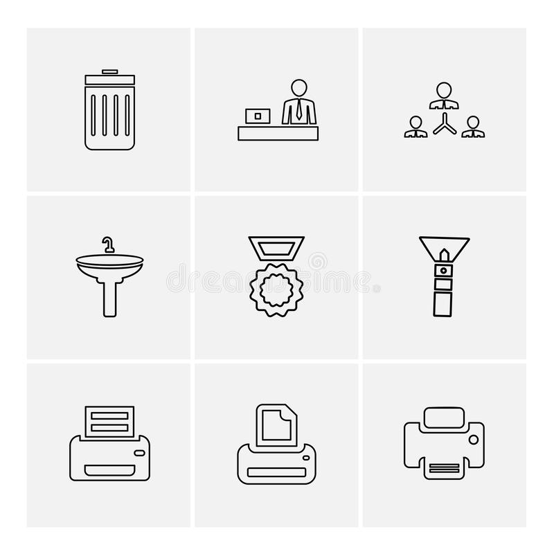 Images , printer , messages , pin , eps icons set vector. Images , printer , messages , pin , clip , badge , clipboard , print , paper , icon, vector, design royalty free illustration