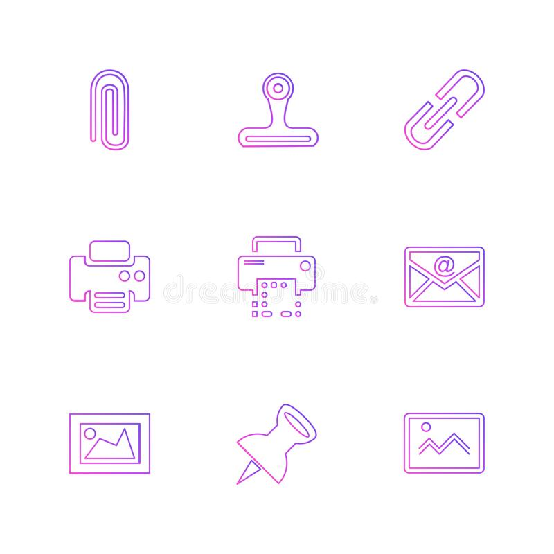 Images , printer , messages , pin , eps icons set vector. Images , printer , messages , pin , clip , badge , clipboard , print , paper , icon, vector, design stock illustration