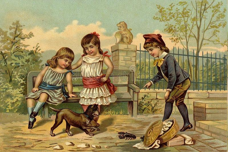 Children`s games. Play with the dog. royalty free illustration