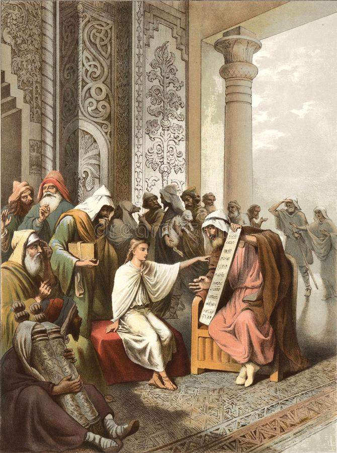 Jesus talks with the wise men in the temple. stock illustration
