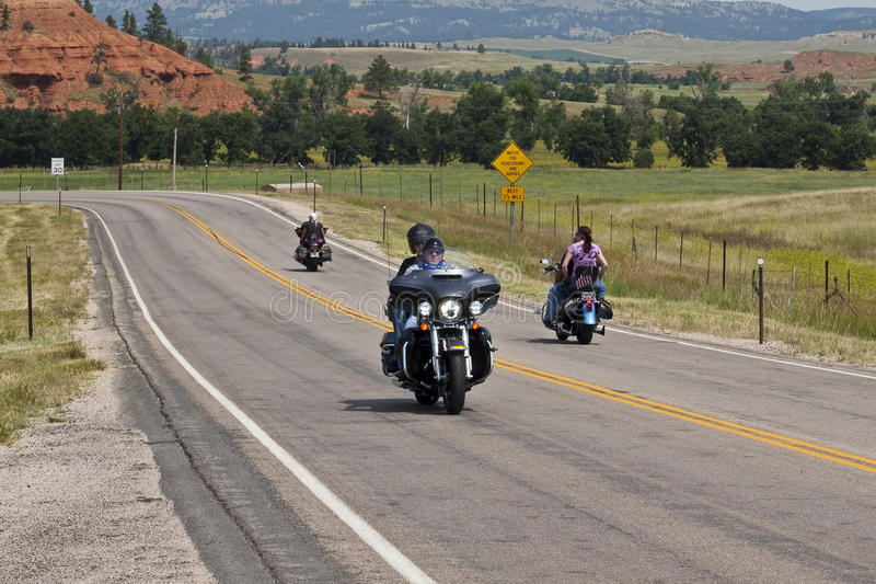 Images of sturgis rally south dakota. Bikers along the road during the annual sturgis bike rally,the rally is the first week of august all around the black hills royalty free stock photography