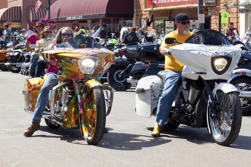 Images of sturgis rally south dakota. Bikers along the road during the annual sturgis bike rally,the rally is the first week of august all around the black hills stock photography