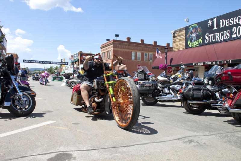 Images of sturgis rally south dakota. Bikers along the road during the annual sturgis bike rally,the rally is the first week of august all around the black hills stock photo