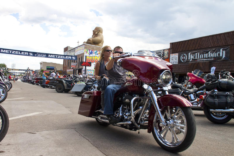 Images of sturgis rally south dakota. Bikers along the road during the annual sturgis bike rally,the rally is the first week of august all around the black hills stock images
