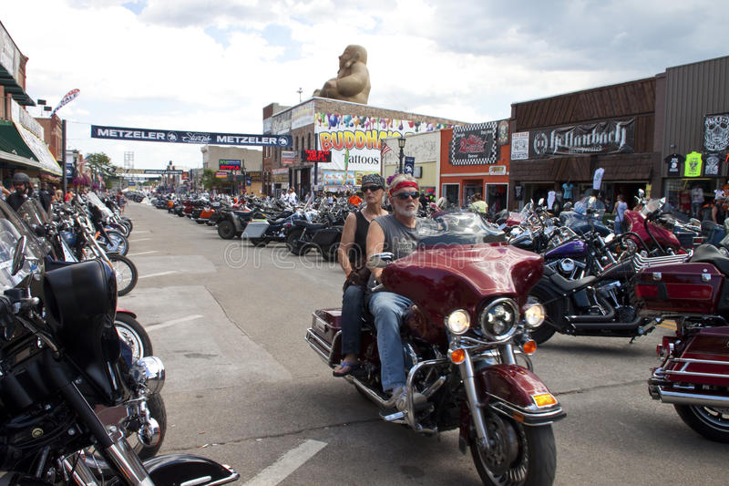 Images of sturgis rally south dakota. Bikers along the road during the annual sturgis bike rally,the rally is the first week of august all around the black hills stock photos