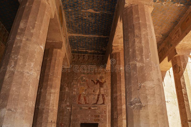 Images on the wall at the Hatshepsut Memorial Temple, Luxor, Egypt stock photos