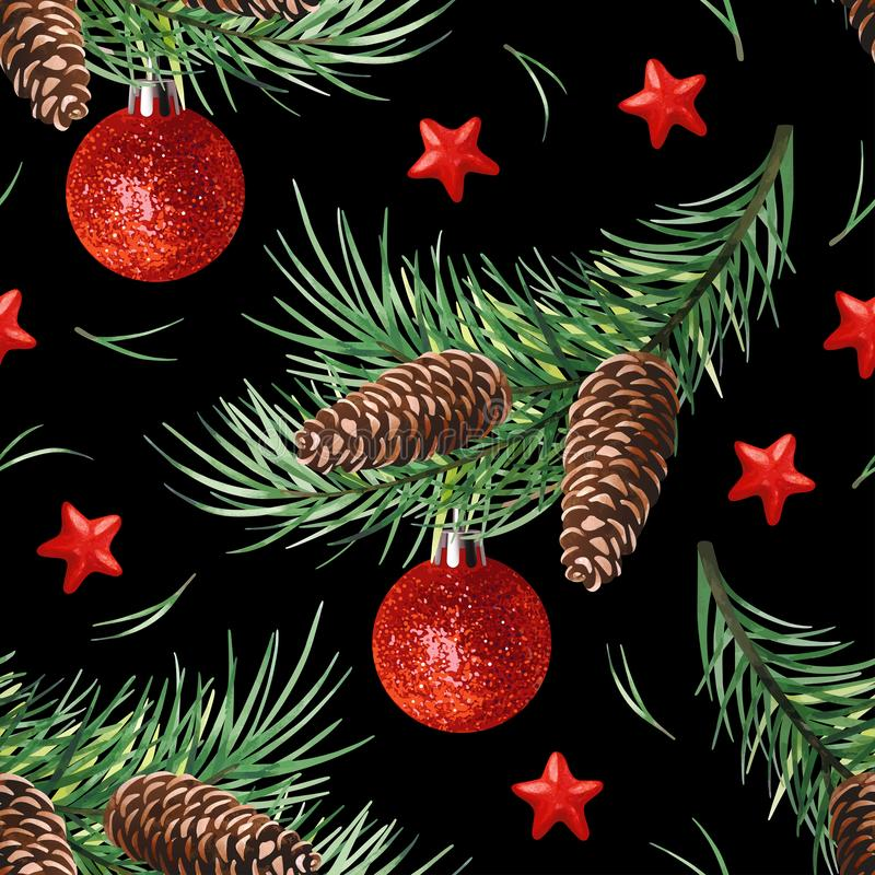 Seamless pattern with Christmas symbol - Christmas tree with cones, stars and balls on black background. stock illustration