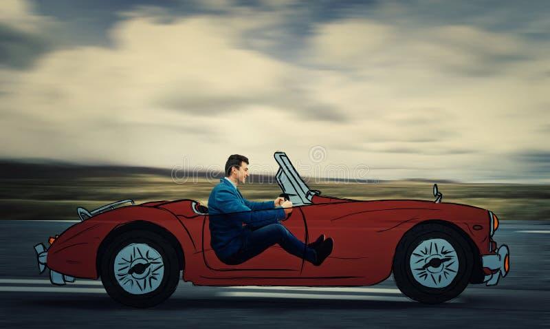 Imaginär bilkörning royaltyfri bild