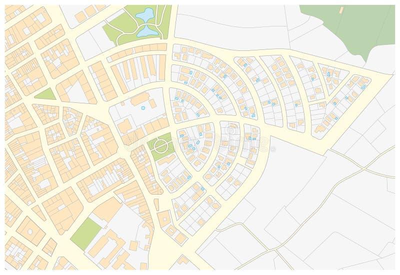 Imaginär matrikel- översikt av ett område med byggnader och gator stock illustrationer