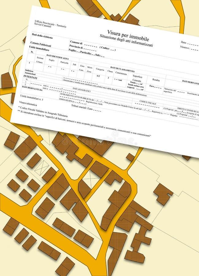 Imaginär matrikel- översikt av territoriet med byggnader och vägar stock illustrationer