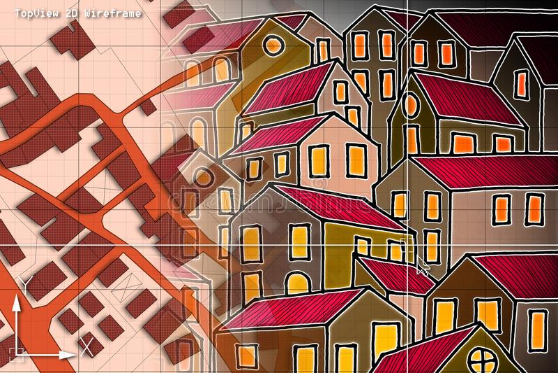 Imaginär matrikel- översikt av territoriet med byggnader och vägdren vektor illustrationer
