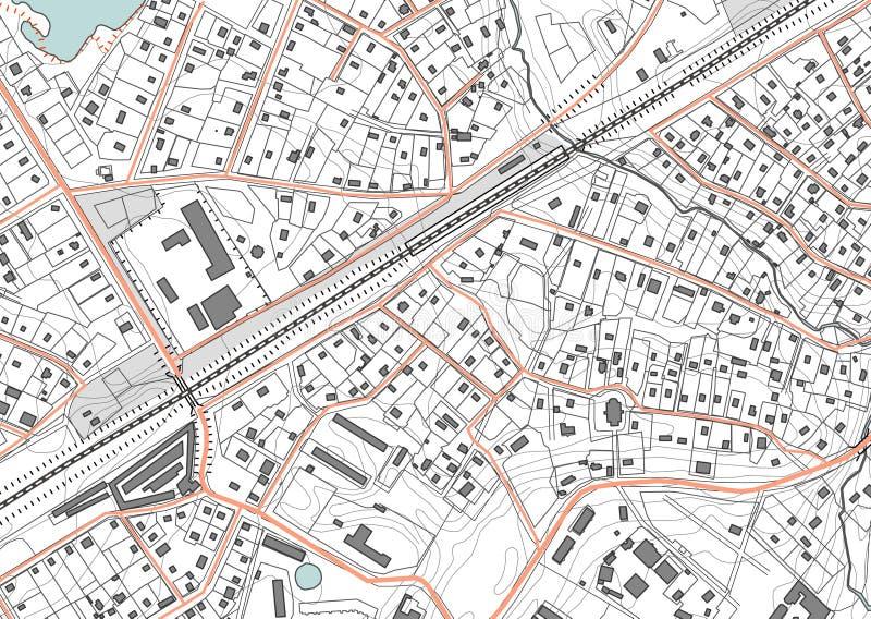 Imaginärt plan per bostadsområde av privat hus Bostads- låghus- byggnader för fjärdedel också vektor för coreldrawillustration royaltyfri illustrationer