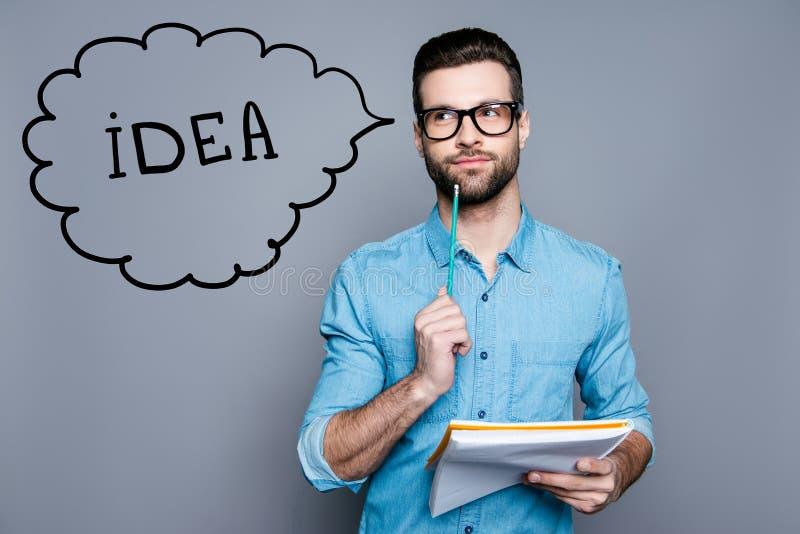 Imaginação da ideia e conceito da inspiração Acadêmico Nerdy professa foto de stock royalty free