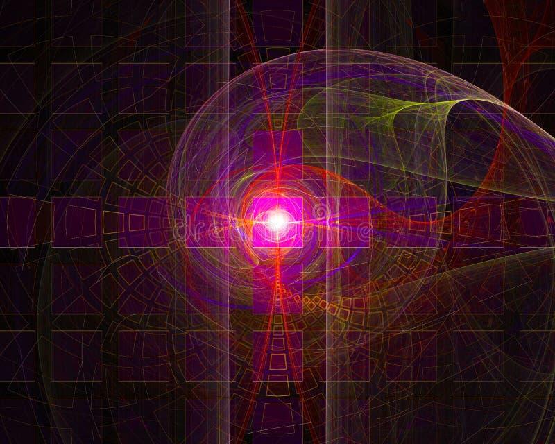 Imaginação dinâmica do projeto da fantasia do ornamento do contexto da forma do fluxo da elegância do fractal digital abstrato, ilustração royalty free