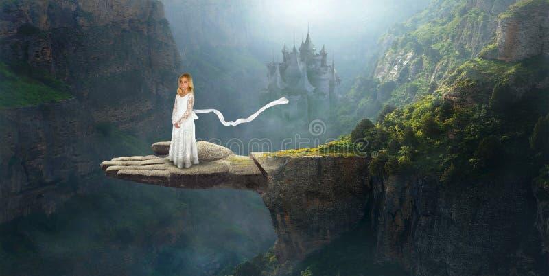 Imaginação, inspiração, fantasia, menina surreal fotografia de stock