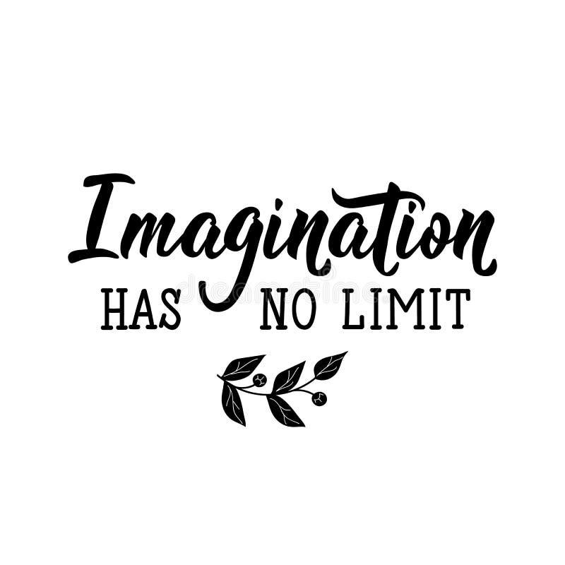 A imaginação não tem nenhum limite lettering Ilustração do vetor da caligrafia ilustração stock