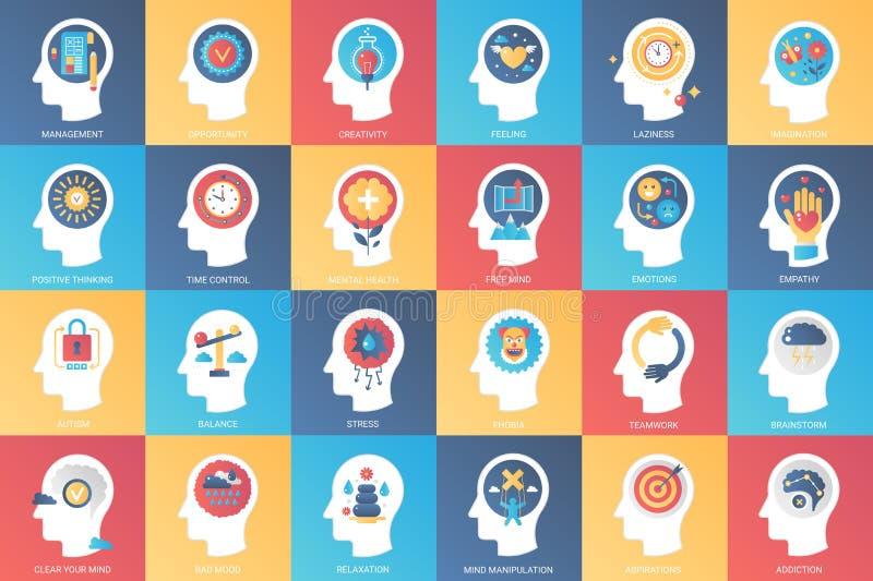 Imaginación, características del cerebro, emociones y concepto de diseño del icono del poder de la mente Icono para los gráficos  libre illustration