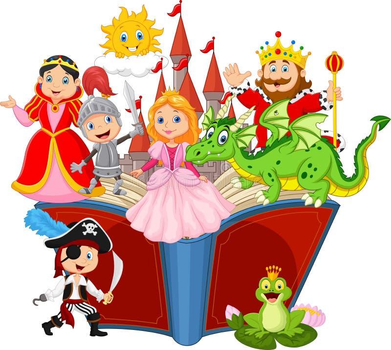 Imaginación en un libro de hadas de la fantasía de la cola de los niños stock de ilustración