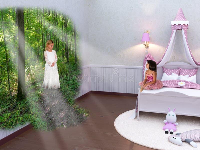 Imaginación, naturaleza, bosques, niñas, fantasía, amigos foto de archivo libre de regalías