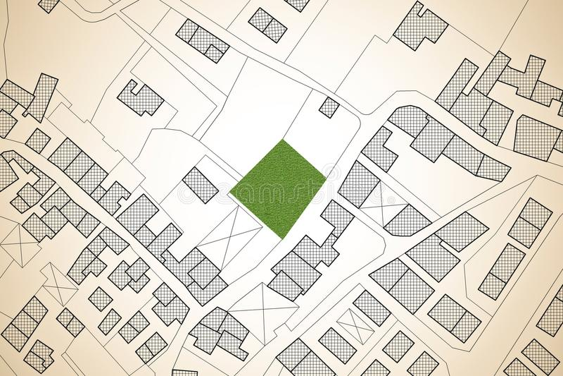 Imaginacyjna kadastralna mapa terytorium z bezpłatnym zieleni ziemi avai ilustracja wektor