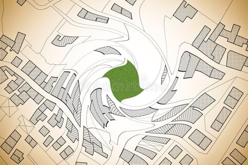 Imaginacyjna kadastralna mapa terytorium z budynkami, drogami i gruntowym pakuneczkiem, - pojęcie wizerunek kształtował vortex zdjęcie royalty free