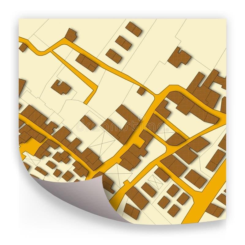 Imaginacyjna kadastralna mapa terytorium z budynkami i drogami - poj?cie wizerunek fotografia stock