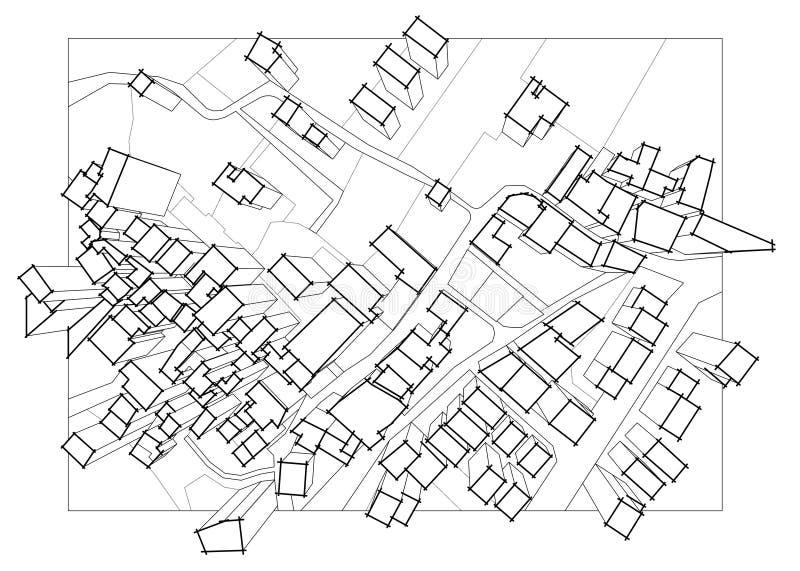 Imaginacyjna kadastralna mapa terytorium z 3D budynkami, polami, drogami i gruntowym pakuneczkiem mieszkaniowy okręg, obraz royalty free