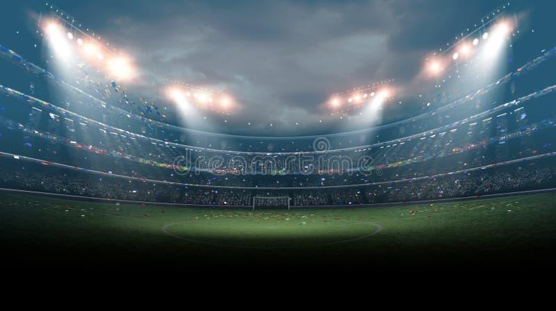 Imaginacyjny stadium piłkarski, 3d rendering royalty ilustracja