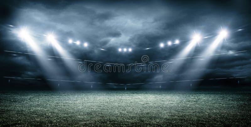 Imaginacyjny stadium piłkarski z ciemnymi chmurami, 3d rendering ilustracja wektor