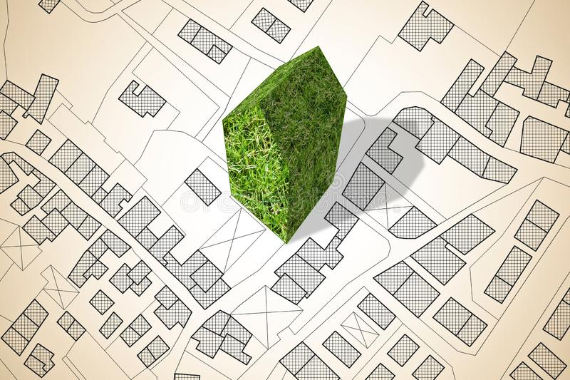Imaginary city map with a green building - The architecture of the future - concept image royalty free stock photos
