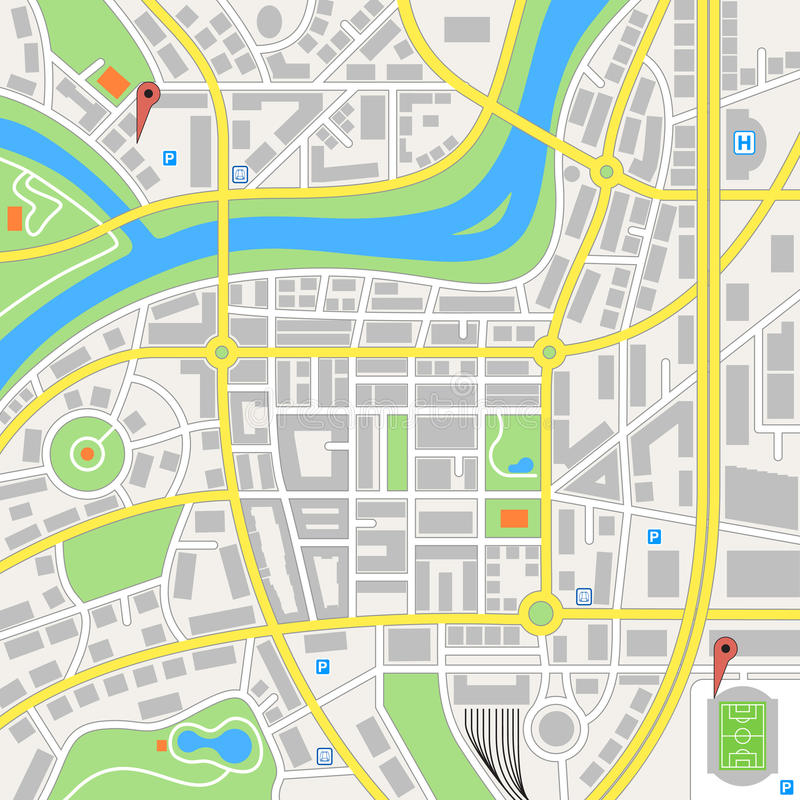 Imaginary City Vector Map. A generic city map of an imaginary city royalty free illustration