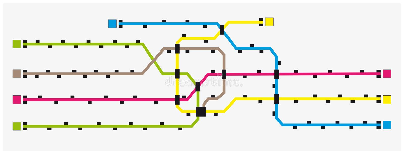 Imaginary colored subway map with stations royalty free illustration