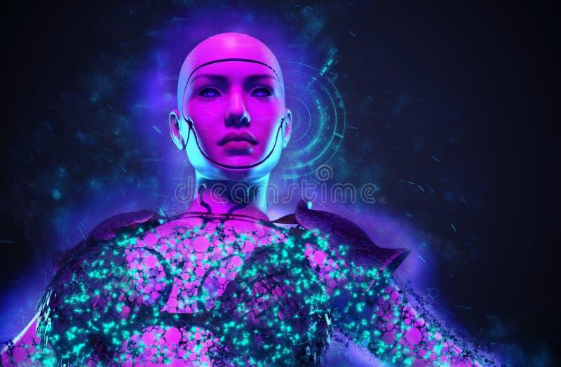 Imaginary female robot warrior stock illustration