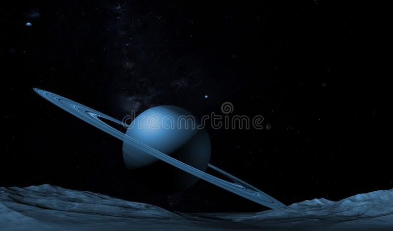 Imaginary landscape on a distant planet. Digital illustration.  stock illustration