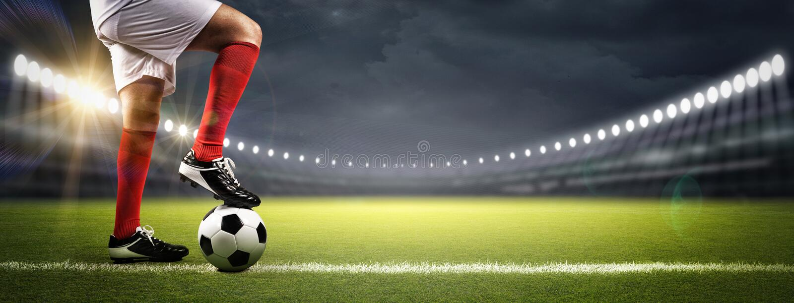 Football player in the stadium stock photography