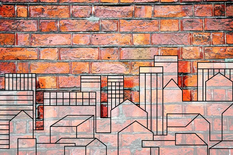 Imaginary urban skyline of a modern hypothetical city on a brick wall - concept image with copy space.  stock photography