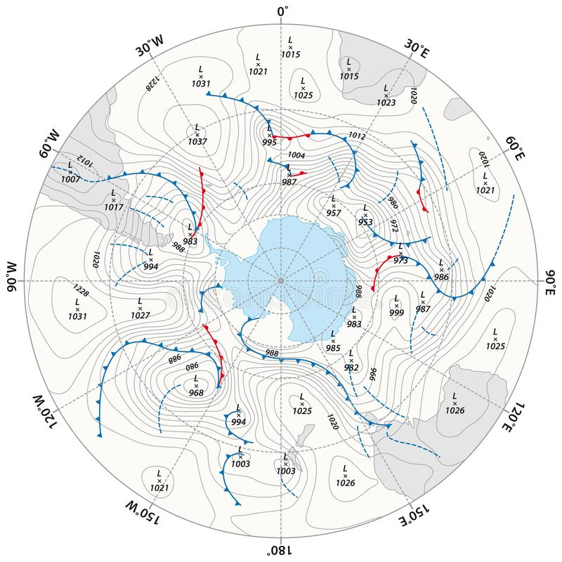 Imaginary weather map Antarctica with isobars and weather fronts.  royalty free illustration
