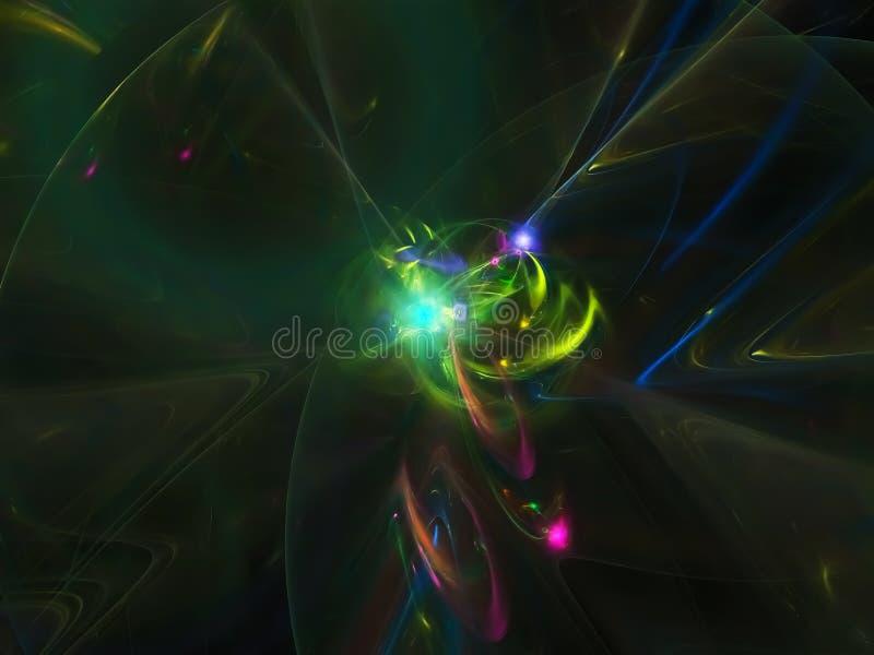 Imagination abstraite d'élégance de mouvement de fractale, conception numérique magique dynamique d'écoulement future, disco illustration de vecteur