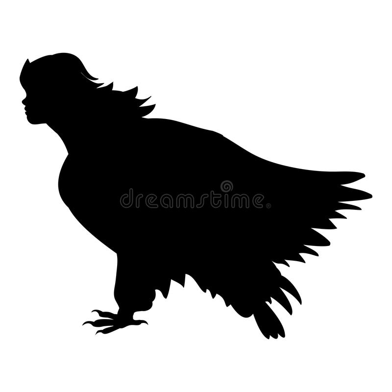 Imagination antique de mythologie de silhouette d'oiseau de Sirena illustration libre de droits