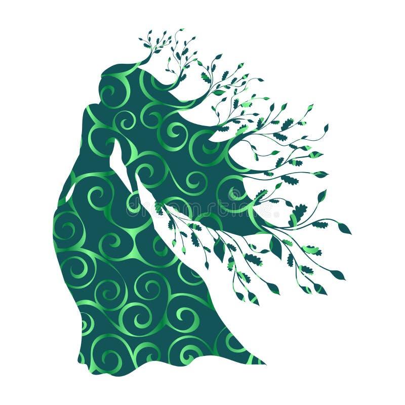 Imagination antique de mythologie de silhouette de modèle de forêt de nymphe de dryade illustration de vecteur
