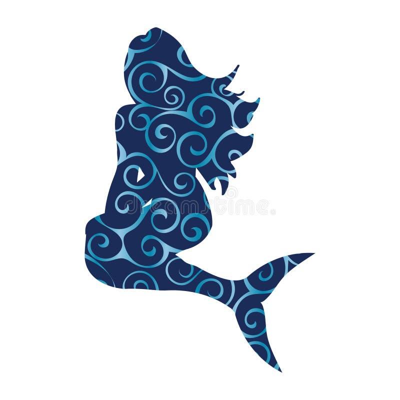 Imagination antique de mythologie de silhouette de modèle de sirène de sirène illustration de vecteur