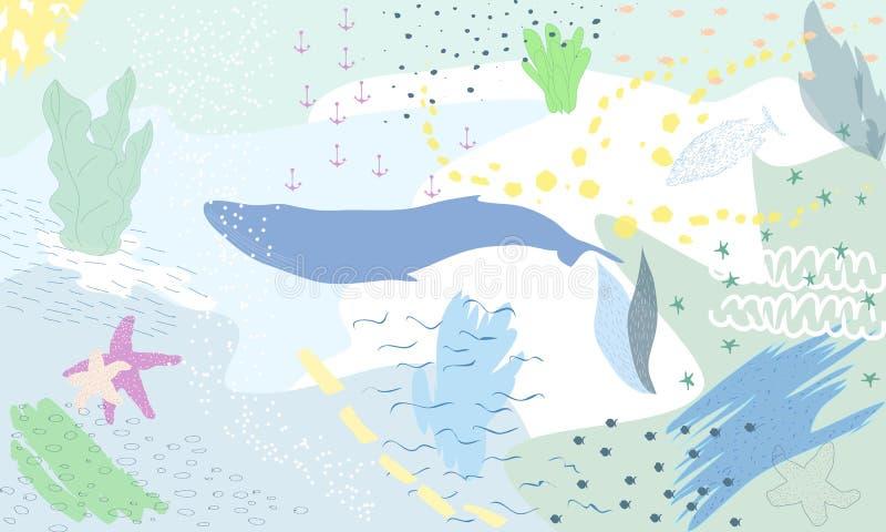 Imagination colorée abstraite sous-marine Art semi abstrait d'illustration Image des poissons en mer Peint à la main, enfants illustration de vecteur
