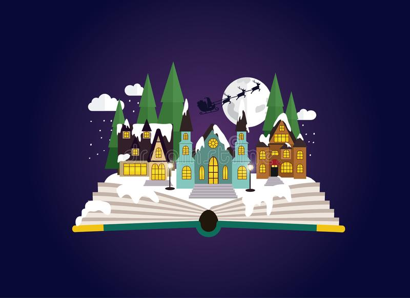 Sleepy, snowy town at christmas night coming out of the book stock illustration