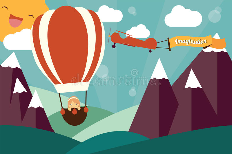 Imagination concept - girl in air balloon and airplane royalty free illustration